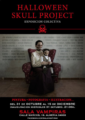 Cartel Halloween Skull Project - Sala Vampiras - Almería