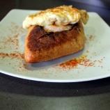 Pan frito con huevo y pimentón, tapa de autor en Vin'68