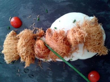 Ovillos gambón y salmonete con ajoblanco en Nuestra Tierra