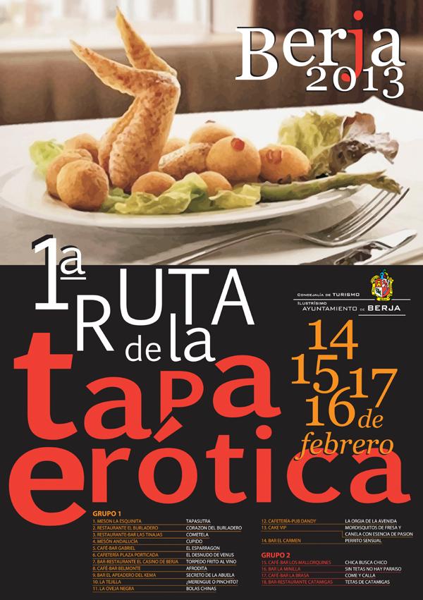Cartel I Ruta de la Tapa Erótica de Berja - Almería